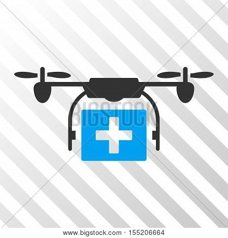 Ambulance Drone vector pictograph. Illustration style is flat iconic bicolor blue and gray symbol on a hatch transparent background.