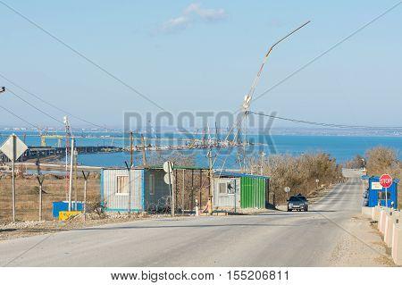Taman, Russia - November 5, 2016: Construction Of A Bridge Across The Kerch Strait, The Control Chec