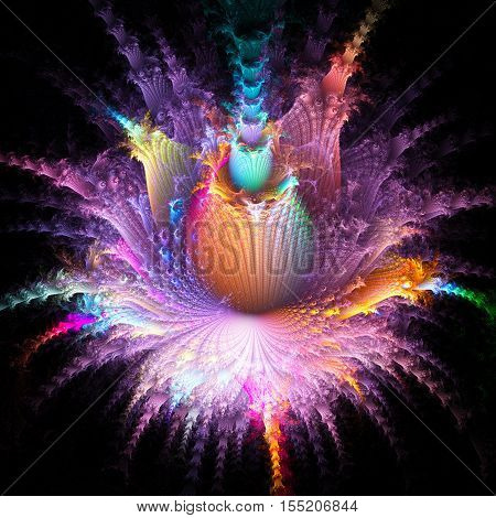 Exotic flower with alien planet. 3D surreal illustration. Sacred geometry. Mysterious psychedelic relaxation pattern. Fractal abstract texture. Digital artwork graphic astrology magic