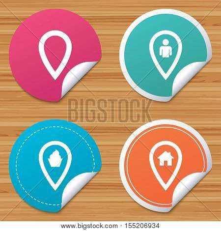 Round stickers or website banners. Map pointer icons. Home, food and user location symbols. Restaurant and cupcake signs. You are here. Circle badges with bended corner. Vector