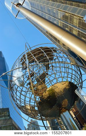 New York City USA - October 14 2016: A steel globe located at the Columbus Circle near Trump Tower. Midtown Manhattan New York City.