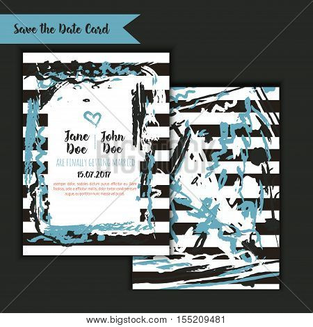 Save the date freehand card with hand drawn background. Modern Stock vector. Invitation design with menu and RSVP card