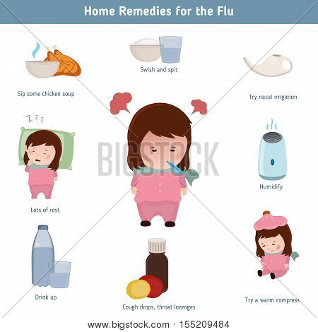 Home remidies for the flu. Infographic element. Health concept.