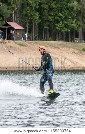 St Petersburg, Russia - May 28 : The Athlete Goes In For Wakeboarding On May 28, 2016.