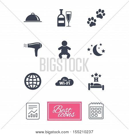 Hotel, apartment service icons. Restaurant sign. Alcohol drinks, wi-fi internet and sleep symbols. Report document, calendar icons. Vector