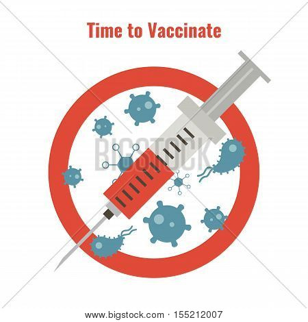 Vaccination and health concept. Illustration of a syringe and anti bacteria sign. Medical immunization patient healthcare.