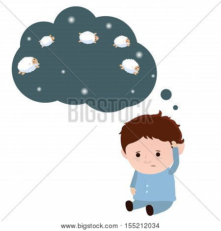 Sleepless man and a sheep. Insomnia concept. White background.