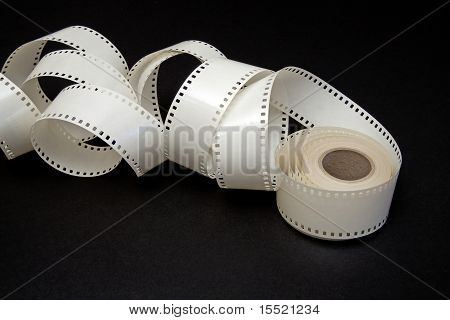 White Film Reel On A Black Background