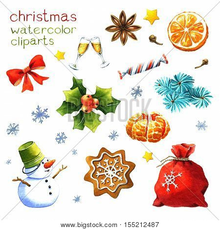 Christmas clipart watercolor isolated on white background