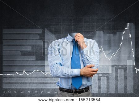Businessman without head and his arm on chin thinking something over