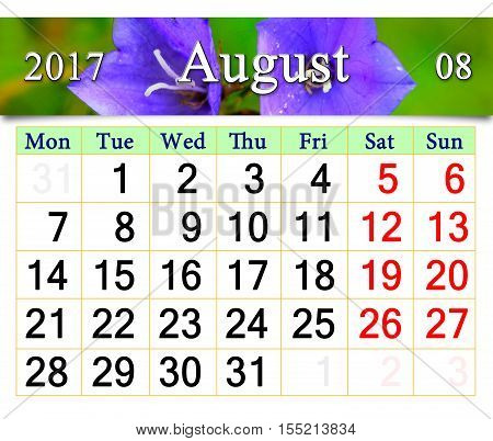 calendar for August with flowers of flowers of lilac bluebells