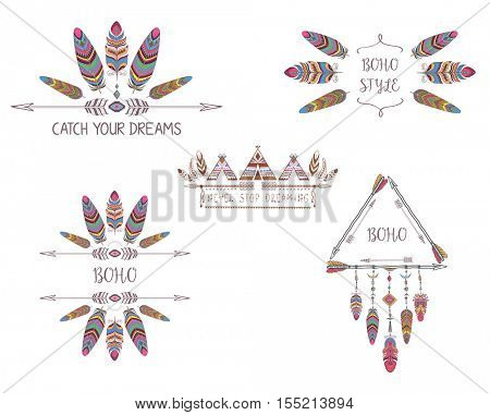 Set of Boho Style Design for T-shirt, Tattoo and Decoration. Abstract Frame with Bird Feather and Arrow.