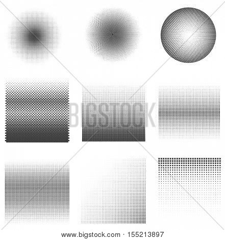 Set of Vector halftone dots Patterns. Black dots on white Background.