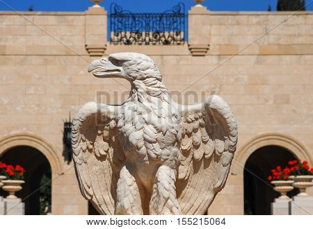 Eagle Statue At The Bahai Temple In Acre, Israel