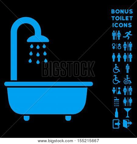 Bath Shower icon and bonus male and female lavatory symbols. Vector illustration style is flat iconic symbols, blue color, black background.