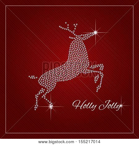 Christmas Reindeer. Christmas greeting card or poster. Shimmering diamond luxury template. Fashion ornament crystal precious silver applique rhinestones Christmas brilliant stone design. Vector.