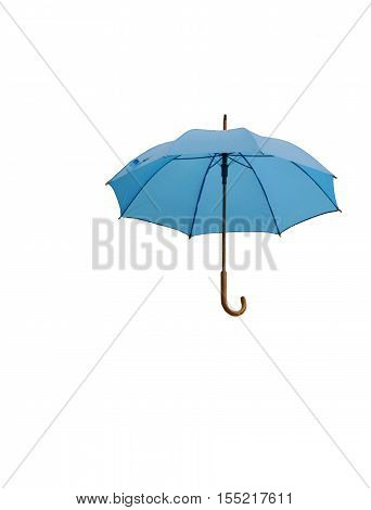 Umbrella on white background. Isolated blue umbrella