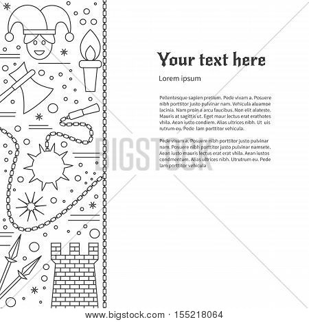Poster flyer with medieval thin line icons symbols. Jester spears medieval tower torches flail morning star axe chain. Vector template with medieval design elements and place for your text.