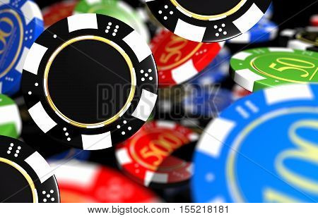 Colorful Casino Chips Closeup 3D Render Illustration. Casino Games.