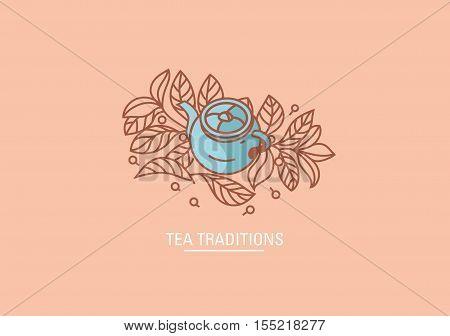 Tea traditions. Teapot and Tea grenn or black leaves