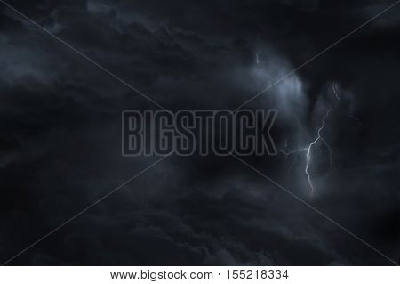 Dark Sky Lightning Storm. Lighting Between Dark Clouds