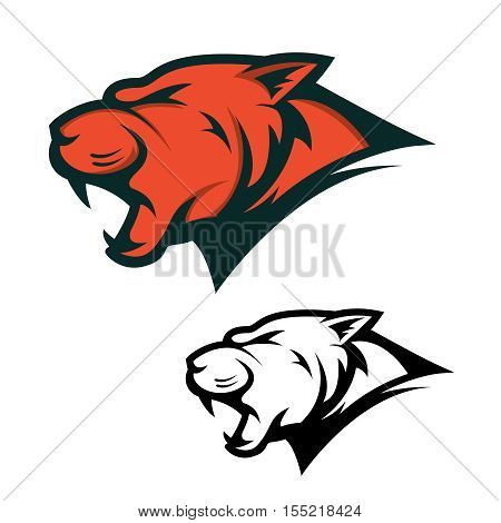 Angry Panther head with opened mouth. Sport team mascot. Design element for logo, label, emblem, sign, brand mark. Vector illustration.