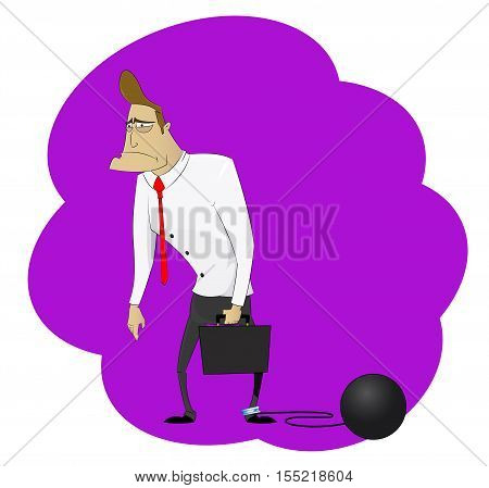 Cartoon man chained to big heavy debt weight. Debts , liabilities and corporate slavery concept. Vector illustration