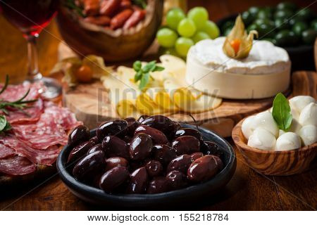 Variation of antipasti and appetizers
