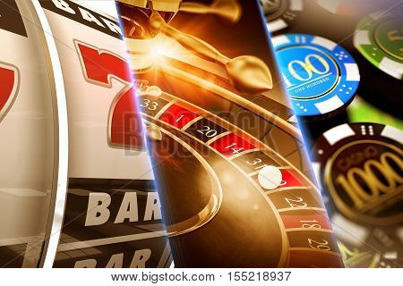 Lucky Casino Games Concept Illustration. Roulette Slots and Casino Chips.