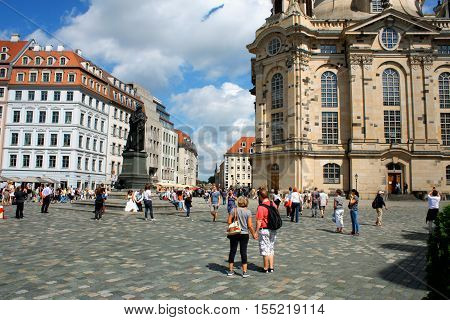 Dresden Germany aug 15. 2016- Frauenkirche in the ancient city of Dresda historical and cultural center of Free State of Saxony in Europe.