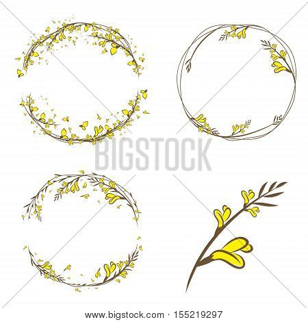 Broom Yellow Flower Decorative Frame Collection With Copyspace poster