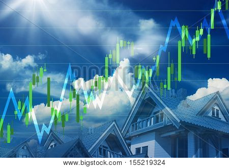 Real Estate and Conctruction Market Going Up. Bright Sunny Real Estate and Economy Concept 3D Illustration.