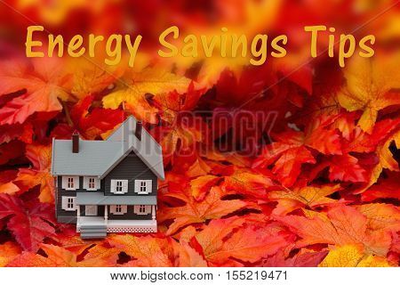Home energy savings tips in the fall season Some fall leaves and gray house with text Energy Savings Tips