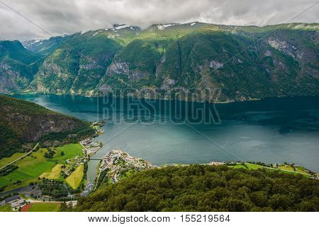 Scenic Norway Landscape. Norwegian Fjord and the City. Birds Eye View. Aerial Fjord Photo.