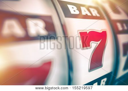 Slot Machine Lucky Casino Game. Slot Machine Closeup 3D Render Illustration.