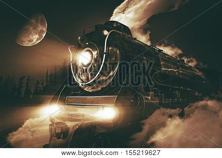 Speeding Steam Locomotive Crossing Rocky Mountains at Night.