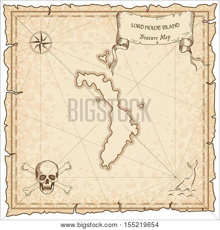 Lord Howe Island Old Pirate Map. Sepia Engraved Parchment Template Of Treasure Island. Stylized Manu
