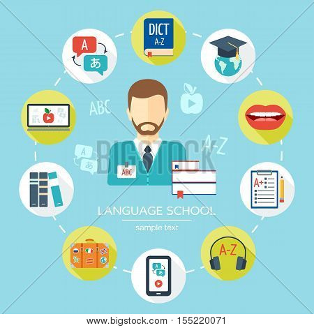 Foreign language school and courses flat icon set. Learning language banner background poster concept. Flat design. Vector illustration