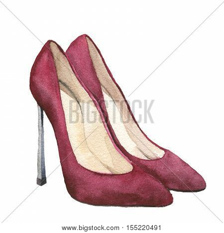 Watercolor red suede high-heeled shoes. Stiletto shoes isolated on white background. Fashion illustration for design. Party print