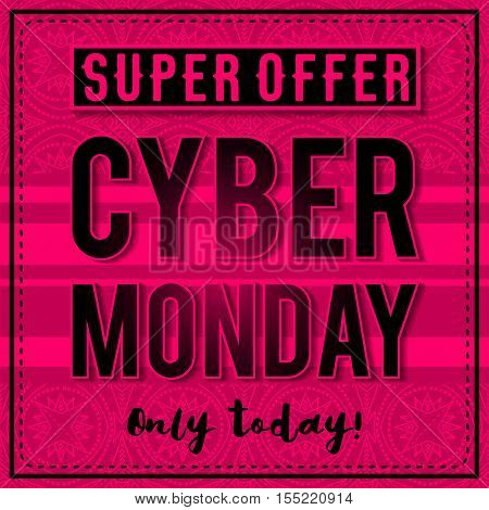 Cyber Monday sale banner on pink patterned background vector illustration
