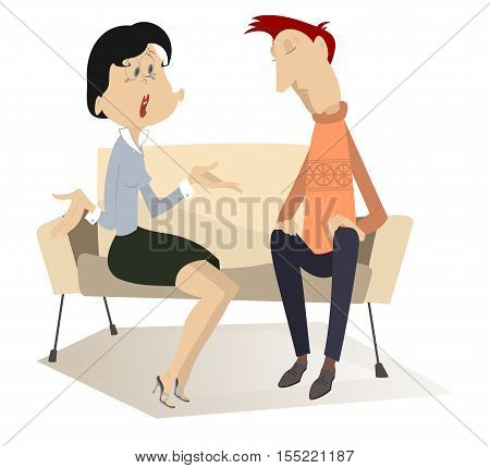 Disappointment. Woman demands to do something from the man in low spirits on the sofa