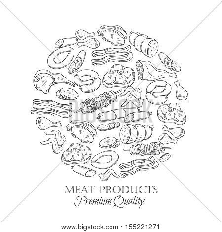 Set hand drawn monochrome icon meat. Decorative meat icons in old ink style for the design food meat production , brochures, banner, restaurant menu and market