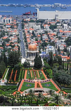 Bahai Temple And Haifa Port View, Israel