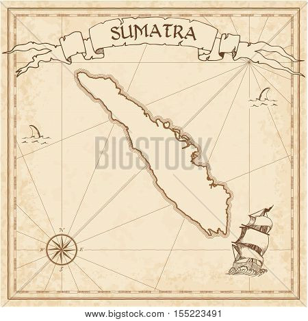 Sumatra Old Treasure Map. Sepia Engraved Template Of Pirate Island Parchment. Stylized Manuscript On