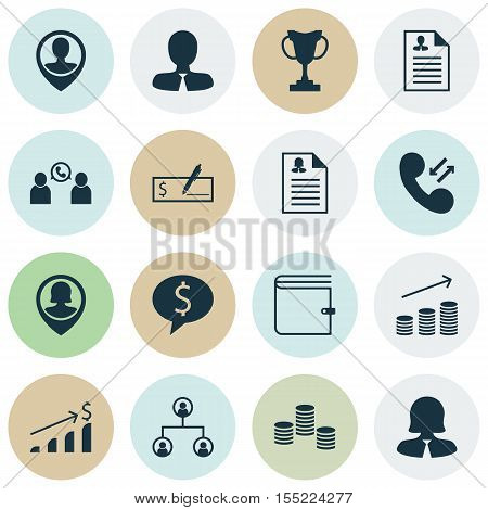 Set Of Management Icons On Tree Structure, Business Deal And Curriculum Vitae Topics. Editable Vecto