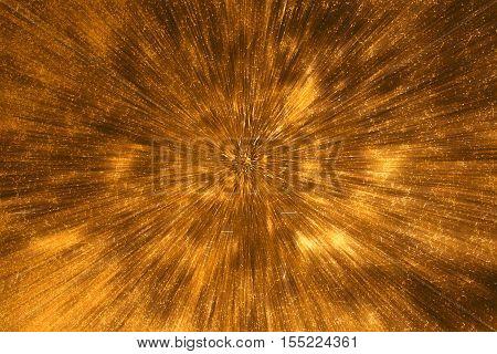 Yelow gold motion blur grunge dark wall background.