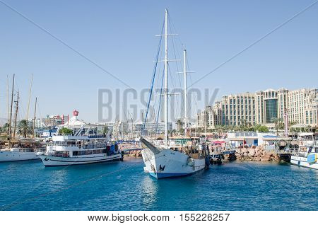 EILAT, ISRAEL - SEPTEMBER 10 2013: Sailboat at Eilat bay. Israel