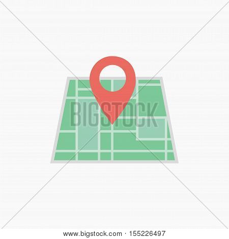 Vector map icon with Pin Pointers. Flat style eps