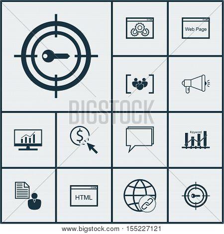 Set Of Seo Icons On Keyword Optimisation, Media Campaign And Keyword Marketing Topics. Editable Vect