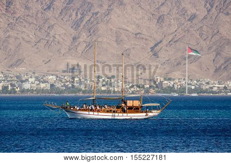 The Tourists Yacht In Bay Of Eilat. Israel